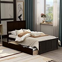 Storage Platform Bed with Drawers and Wheels, Solid Wood Twin Bed with Headboard and Footboard, No Box Spring Needed, Twin Size ,Espresso