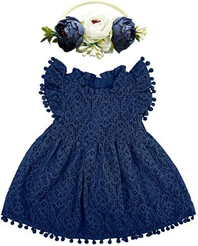 BGFKS Baby Girl Tutu Dress Elegant Lace Pom Pom Flutter Sleeve with Flower Headband Set Navy product image