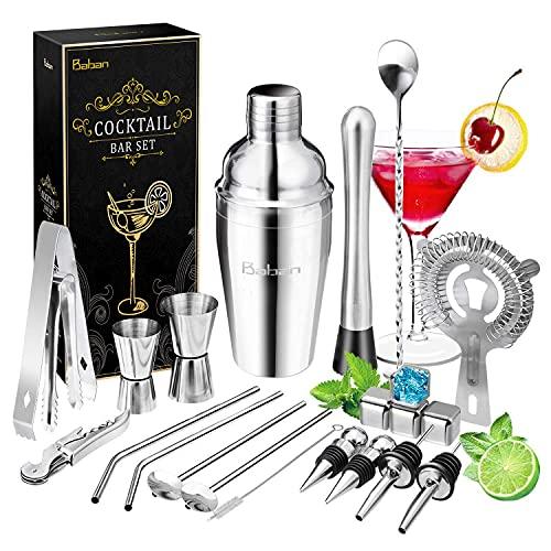 Baban Cocktail Shaker Set 22 Pezzi, Acciaio Inossidabile Shaker 550ml, con 4 Pezzi Pietra di Wisky, Professionale Kit da Barman, Perfetto Regalo per Amici e Genitori