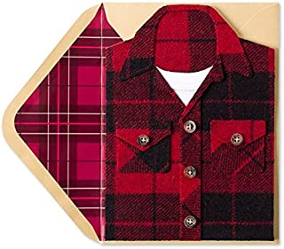 PAPYRUS Mans Flannel Shirt Blank Birthday Card