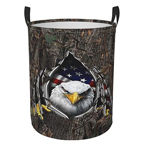 SAIKOUNOYA American Flag Eagle Rip Oak Camo Flag Laundry Hamper Basket with Handles, Circular Collapsible Fabric Waterproof Portable Dirty Clothes Bag