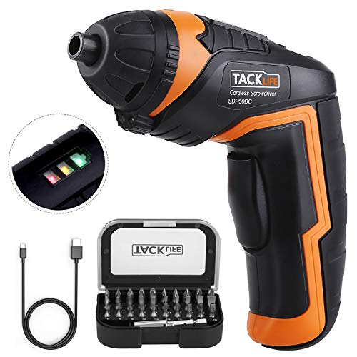 TACKLIFE Cordless Screwdriver, 4V MAX Electric Screwdriver, 2.0Ah Li-ion with Battery Indicator, 31...