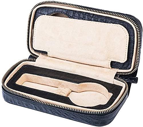 HKHJ Caja de reloj de cuero genuino, estuche de viaje para reloj portátil de grano de cocodrilo para 2 relojes Organizador de reloj negro con cremallera Regalo de lujo para su amante