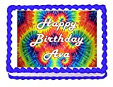 Tie Dye Hippie Party Edible Cake Image Cake Topper