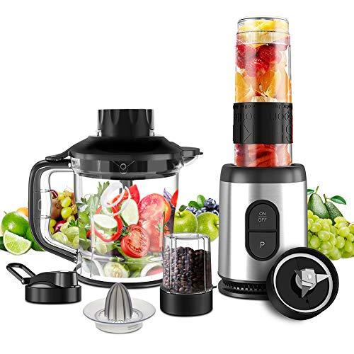 Mini Blender Multifonctionnel 5 en 1 Machine à Smoothie 800W Mixeur Blender 1.2L pour Smoothies Milk-Shake Jus de Fruits Légumes Poivre Épices Blender Portable pour Sport Voyage et Maison