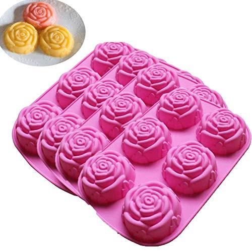 Gpzj 4 pièces moules en Silicone en Forme de Fleur de Rose Cuisson, Conception de Rose à 6 cavités pour gâteau, Savon, gelée, Pain, Pudding