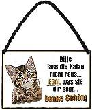 """Hängeschild Spruch """"Bitte Lass die Katze Nicht Raus ."""" thumbnail"""