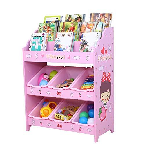 Unidad de estante del organizador de juguetes Unidad de almacenamiento de juguetes Childrens Toy Box Organizer para vivero sala de juegos Estante de libro ( Color : Pink , Size : One size )