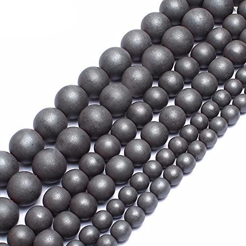 NHFVIRE Polonia aburrida Mate Negro hematita Cuentas Redondas Perlas de Piedra Natural para joyería Que Hace Abalorios brazaletes de Bricolaje 10mm