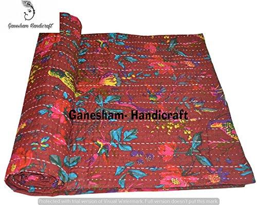 Décoration de chambre indienne, décoration de chambre à coucher, couverture indienne, couvre-lit indien, couverture indienne, couvre-lit ethnique, literie bohème, couvre-lit en coton, literie Kantha.