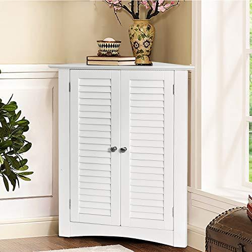 Tangkula Corner Storage Cabinet, Space Saving Corner Cabinet with Double Shutter Doors & Adjustable Shelf, Freestanding Floor Cabinet Organizer for Kitchen Living Room Bathroom (White)