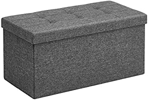 SONGMICS Storage Ottoman Bench, Chest with Lid, Foldable Seat, Bedroom, Hallway, Space-Saving, 80L Capacity, Hold up to...
