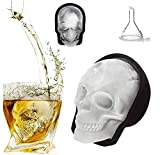 Large 3D Skull Ice Mold, Large Silicone Skull Ice Cube Tray of 400ml Capacity, Durable Black Skull Ice Maker with Funnel for Whiskey, Bourbon, Cocktails, Beer, Perfect for Parties