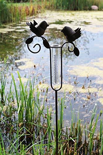 AmaCasa Regenmesser Litermesser Vogelpaar aus Metall - Rostoptik | Niederschlagsmesser für Haus & Garten | inklusive Glas mit Skala |Gartenstecker mit Einer Höhe von 110cm