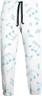 Blue Music Notes Sport Sweatpants Joggers Pants Trousers Sweatpant