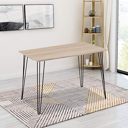 GOLDFAN Rechteckiger Esstisch Holz Retro Industrie-Design Küchentisch Mit Metallbeinen für Esszimmer Wohnzimmer Küche, Eiche