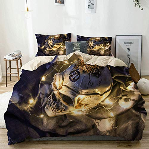 Totun Duvet Cover Set Beige,Helloween Skull in The Dark with a Garland,Decorative 3 Piece Bedding Set with 2 Pillow Shams Easy Care Anti-Allergic Soft Smooth