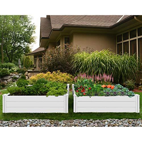 Vita Cama de jardín de vinilo blanco de 4 pies x 4 pies