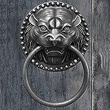 Aldaba de Puerta con Cabeza de león Negro manija de Puerta de Cobre Grueso Antiguo Accesorios de decoración de Pared de jardín de Patio de Puerta de Entrada Retro (tamaño: 20 cm de diámetro