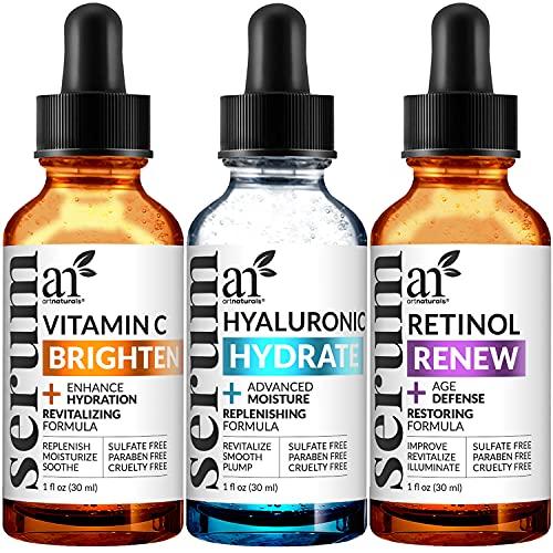 artnaturals Anti Aging Vitamin C Serum for Face, Facial Skin Care Products 3 pack, Hyaluronic Acid and Retinol Serum (3 x 1 Fl Oz / 30ml), Anti Wrinkle and Dark Circle Remover