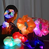 Light Up Hair Scrunchies, 8 Pcs Led Scrunchy Hair Bands, Girls Silk Hair Tie Satin Scrunchie Ponytail Elastic , Glow in the Dark Hair Accessories for Easter Basket Idea Birthday Gift Party Favors Halloween Christmas New Year Headwear