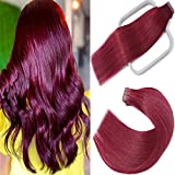 Tape in Hair Extensions Burgundy 100% Remy Human Hair Extensions Silky Straight for Fashion Women 20 Pcs/Package(18Inch #Burgundy 40g)