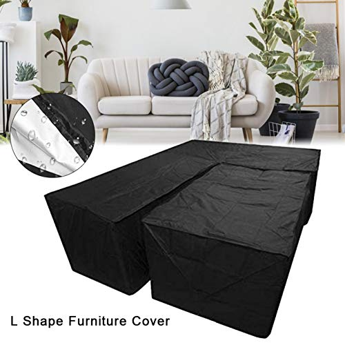Ksruee 2pcs L Form Abdeckung für Gartenmöbel, Sofa Überwürfe elastische Stretch Sofa Bezug, Wasserdicht L Form Schutzhülle für Loungemöbel, Staubdicht, Regenschutz für Terrassenmöbel Gartentische - 2