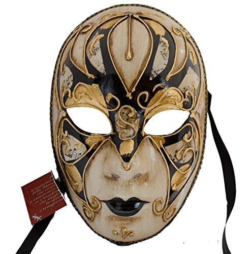 Lannakind Venezianische Maske Gesichtsmaske Volto Damen Karneval, Ballmaske, Wand-Deko (V04 schwarz)