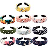 TOBATOBA 10 pcs Bow Knot Headband Floral Twist Turban Headband Cross Knot Wide Headbands Bandana Hair Accessories for Women,10 Colors