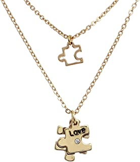 Rosemarie Collections Women's Double Charm Necklace Set Autism Awareness Puzzle Piece