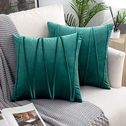 Woaboy Juego de 2 fundas de almohada de terciopelo a rayas modernas decorativas sólidas, fundas de cojín cuadradas suaves y acogedoras para cama, sofá, coche, sala de estar, 55 x 55 cm, color verde