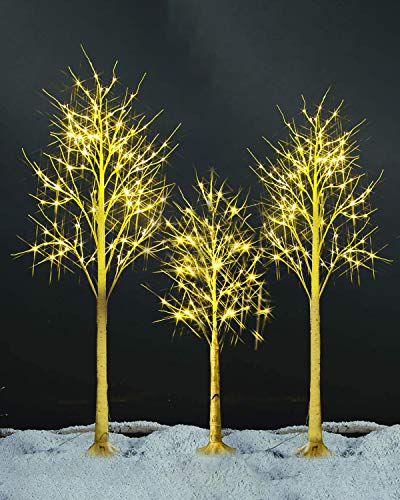 Suwikeke 4Ft 5Ft 6Ft Birch Tree Set with LED Lights, Pre-lit Artificial Christmas Tree Combo Kit Perfect for Home Decor   Party   Wedding   Festival   Outdoor and Indoor Use, Warm White