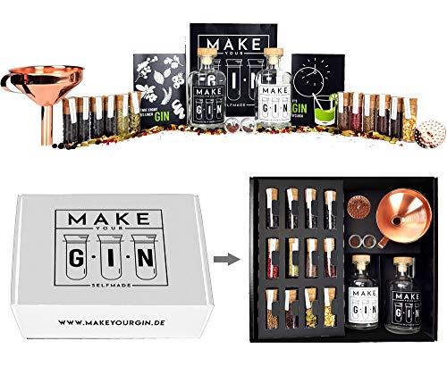 Make Your Gin Geschenkset Geschenkbox in weiß - Gin zum Selbermachen - 11 Botanicals + Bar Trichter + Anleitung mit Rezept - Kopi Luwak von freilebenden Tieren