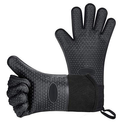 BBQ Gloves, Heat-Resistant Waterproof and Non-Slip Extended Silicone Gloves for Barbecue, Kitchen Cooking, Oven, Smoker, Microwave Baking
