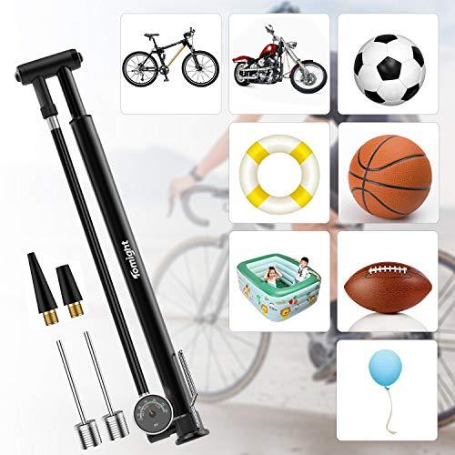 Tomight空気入れ自転車フロアポンプ米式/仏式/英式バルブ対応可足踏み式空気圧ゲージ付き最大空気圧210psiアルミ製ロードバイククロスバイク軽量携帯ポンプ