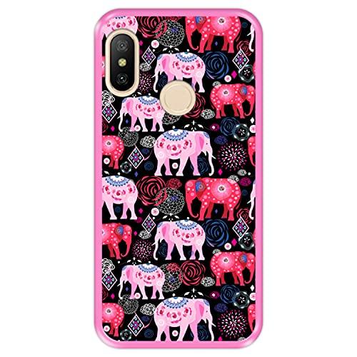 Hapdey Funda Rosa para [ Xiaomi Mi A2 Lite - Redmi 6 Pro ] diseño [ Patrón Brillante de Elefantes Rosados y Rojos ] Carcasa Silicona Flexible TPU