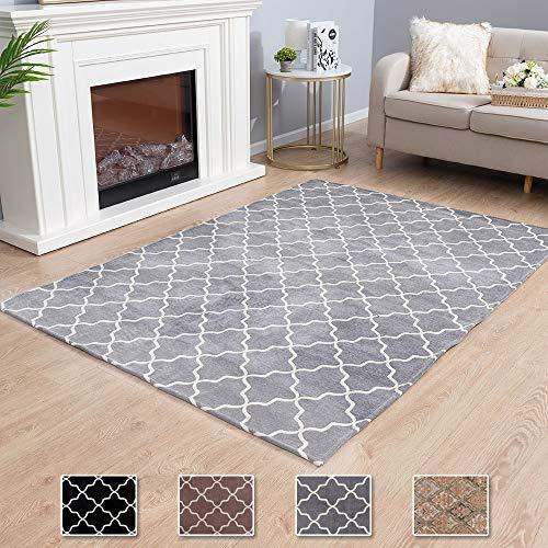 Asrug Moroccan Trellis Non-Slip Area Rug for Living Room Modern Design Carpet Mat for Entry, Patio, High Traffic Areas, Grey, 6.6'x9.8' Alabama