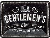 Nostalgic-Art Cartel de chapa retro Gentlemen's Club – Idea de regalo para hombres, metálico, Diseño vintage para decoración pared, 15 x 20 cm
