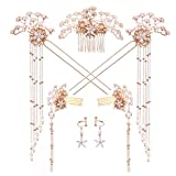 Bride Wedding Hair Tiara Chinese Antique Pearl Hairpin for Women Headdress Hair Comb Earring Jewelry Hair Accessories