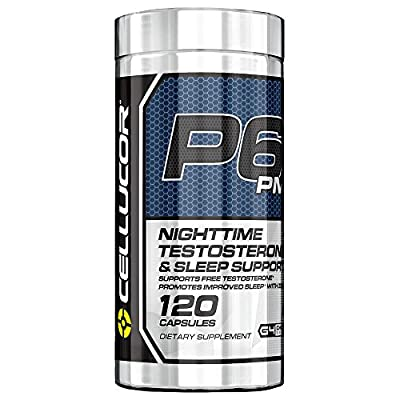 Cellucor P6 PM Testosterone Booster & Sleep Aid Supplement for Men | 120 Capsules | Maximize Free Testosterone Levels, Improve Night Time Rest & Muscle Recovery