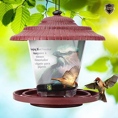 Jeffergarden Alimentador De Aves Contenedor Colgando Semillas De Aves Alimentación Jardín Suministros Comedero para pájaros Silvestres