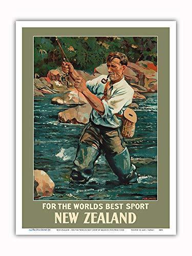 Pacifica Island Art Nueva Zelanda - por el Mejor Deporte del Mundo - Pescador de Trucha Pesca con Mosca - Póster Viajes de Maurice Alec Poulton c.1936 - Impresión de Arte 23x31cm