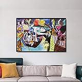 Pesca nocturna en Antibes Reproducción de obra maestra Picasso Póster Pintura Lienzo abstracto Pintura Arte de la pared Decoración del hogar 80x100cm (32x39in) Marco interior