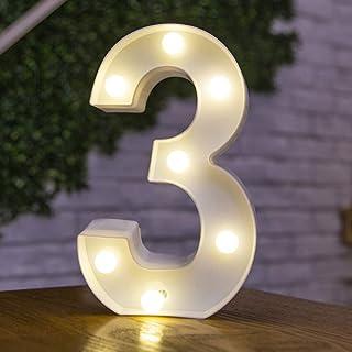 DIY 3Dアルファベット文字ライトLEDナイトライト、26アルファベット0-9数字マーキーサインナイトランプホームパーティーバーウェディングフェスティバル誕生日装飾ギフト。 文字 3 22.5CM