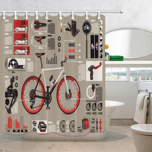 Aliyz Rennrad Illustration Duschvorhang Teen Boy Love Retro Bild Fahrrad Bikes Muster Bad Vorhang, Stoff Duschvorhänge für Badezimmer 71X71in Haken enthalten
