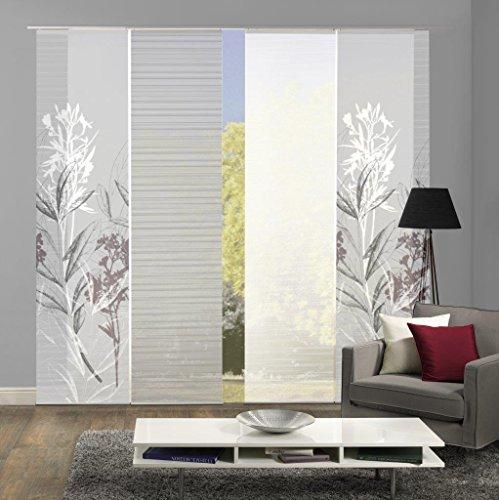 Vision S 94653-0307 | 4er-Set Schiebegardine SEMORA | halb-transparenter Stoff in Bambus-Optik | 4X 260x60 cm | Farbe: Grau