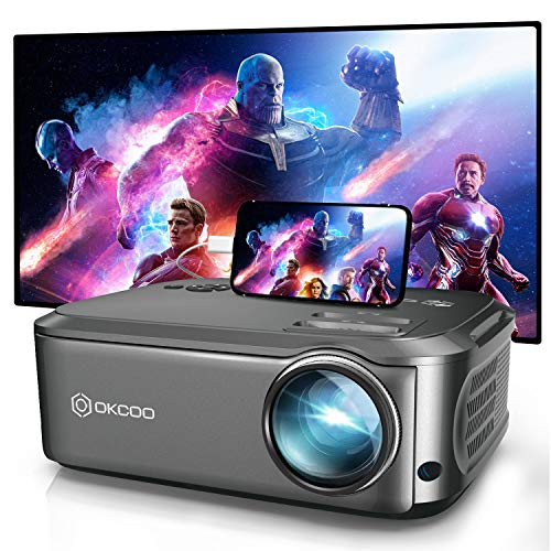 Projector, OKCOO Native 1080P Projector for Outdoor Movies,6500L HD Portable Projector with Max 200' Display for Movie Night,Home Theater,Compatible with Smartphone,TV Stick,PS4,HDMI, VGA,AV and USB