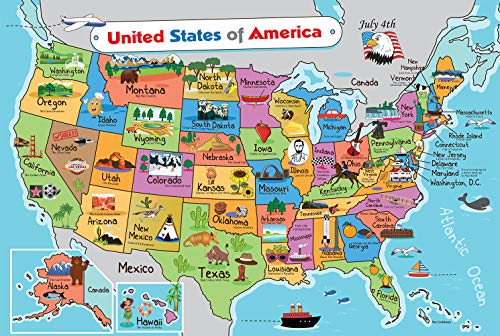 Kids United States Map | Wall Poster 13' x 19' US Map Premium Paper | 50 USA States w/Slogans & Images - Laminated