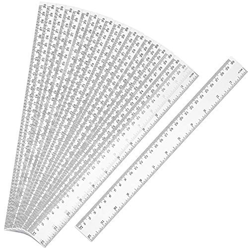 20 Pack Clear Plastic Ruler 12 Inch Straight Ruler Flexible Ruler with Inches and Metric for School Classroom, Home, or Office (Clear) (Renewed)