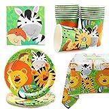 Herefun 53 Forniture per Feste Animali Giungla, Animali Stoviglie di Compleanno, Forniture Feste di Compleanno - 16 Piatti 16 Tazze 20 Tovaglioli 1 Tovaglia